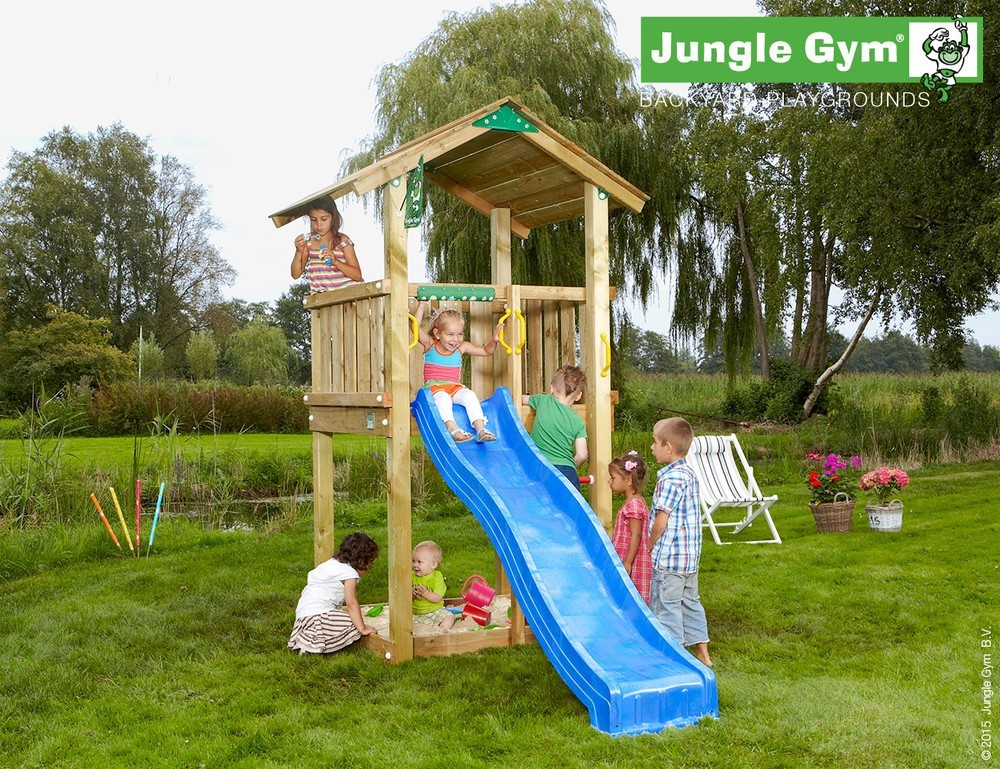spielturm jungle gym castle feuerwehrstange sandkasten kletterturm ebay. Black Bedroom Furniture Sets. Home Design Ideas
