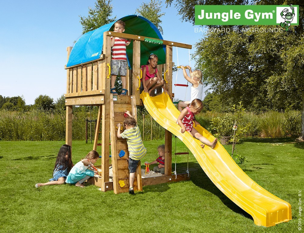 spielturm jungle gym villa feuerwehrstange sandkasten kletterturm kletterwand ebay. Black Bedroom Furniture Sets. Home Design Ideas